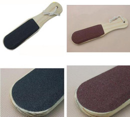 Wholesale Wood Foot Massager - New Wooden handle Double-sided Foot File Care Dead Skin Callus Remover Pedicure Tool Wood