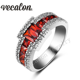 Wholesale Men Garnet Ring - Vecalon 2016 Trendy Male Engagement Band ring Garnet Simulated diamond 10KT White Gold Filled Party Wedding Ring for Men Sz 7-13