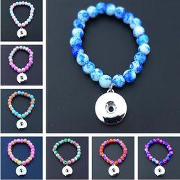 Wholesale Snap Bracelets Kids - 2018 Hot sale Kids Girls 15cm Length Glass Beads Noosa Chunks Metal Ginger 18mm Snap Buttons Bracelet Jewelry Mix Colors Wholesale
