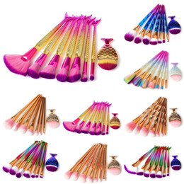 Wholesale 3d hair - 8pcs set Mermaid Makeup brushes Set Make Up Brush 3D Diamond Colorful Spiral Bling brushes Fundation Powder Cream Blush Glitter Brush Kit