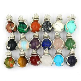 Wholesale Frog Pendant Gold - 2016 Crown The Frog Prince Bead Amethyst Moonstone Natural Stone Pendant Accessories European Fashion Jewelry Reiki Amulet 20pcs Mix Order