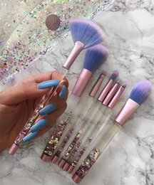 Wholesale Wholesale Crystal Cosmetic Brushes - DHLFree shipping! 7pcs Mermaid Makeup Brush Set Quicksand Crystal Liquid Handle Cosmetics Brushes Powder Eyeshadow Foundation Make up Tool