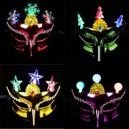 Wholesale Holloween Props - LED Light Flashing Masquerade Venetian Christmas Tree Snowflake Eye Masks Party Props Women Girls Holloween Carnival Decor