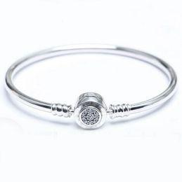 Wholesale Shinny Beads - 2017 New Charm Bracelets Women New Real 925 With Logo Shinny Bracelet Pulseira Original Fits Pandora European Sparking Charm Bead Bangle
