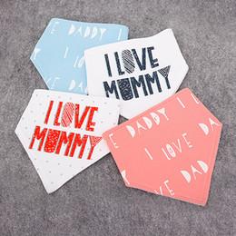 Wholesale Next Cloth - 2016 NEXT hot infant baby bibs triangular letter I LOVE MUMMY binder children pure cotton double-deck burp cloths baby cute pinafores