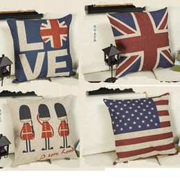 Wholesale Chair Top Covers - Vintage England Style Pillowcases 11 Styles Top Quality Square Printed Cotton Blend Pillow Case Sofa Pillow Covers Car Bed Chair Pillowcase