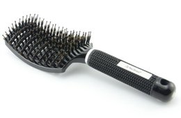 Wholesale Types Hair Dryers - Boar Bristle Brush Best Detangling Thick Hair Vented For Faster Drying Professional Natural Boar Bristles Promotes Healthy Oil Distribtion