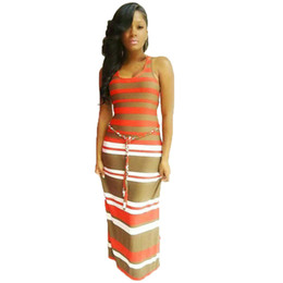 Wholesale Womens Tank Dresses - DS239 Womens Sleeveless Racerback Boho Striped Beach Long Dresses Tank Maxi Dress Sundress Female Summer Vestido Plus Size S-XL