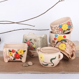 Wholesale Green Decorative Vases - Cute Ceramic flower pots planters decorative vases ceramic pot home decoration garden ornaments Crafts Succulent Planter Flowerpot