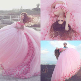 Wholesale Princess Prom Puffy Dress - 2017 Saudi Mhamad Pink Princess Ball Gown Quinceanera Dresses Handmade 3D Flora Appliques Puffy Formal Evening Prom Dresses Custom Made