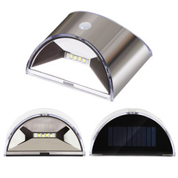 Wholesale Solar Fence Wall Lights - LED Solar Light Wall Light For Garden Patio Pathway Fence Stairs lamps Stainless Steel with Sensor Motion