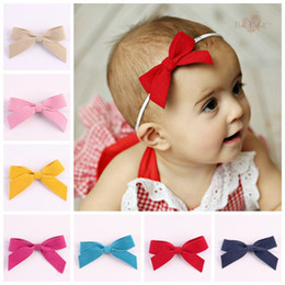Wholesale Thin Elastic Baby Headbands - 2016 faux leather hair bows baby girls thin headbands cute bowknot hair accessories boutique hairband elastic bands kids headband wholesale