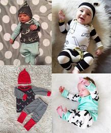 Wholesale Sleepwear T Shirts Cotton - Wholesale INS Boys Girls Baby Clothing Sets Cartoon Long Sleeve T-shirts Printed Harem Pants 2 Set Newborn Sleepwear Spring Autumn Clothes