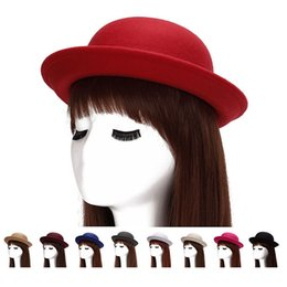 Wholesale Hat Wholesale England - England Ladies Autumn Winter Flanging Wool Felt Vintage Elegant Dome Hat Cap