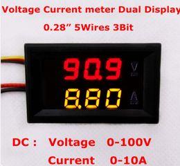 Wholesale Panel Meter Amp Car Dc - 100pcs lot Car Panel Red yellow LED Dual Display DC 0-100V 10A Digital Amp Volt Meter Voltage Current Monitor Tester Voltmeter