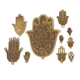 Wholesale 18k Gold Hamsa Ship - Free shipping 58pcs lot Mixed Style Zinc Alloy Antique Bronze Plated Hamsa Palm Hand Charms Pendants Diy Jewelry Handmade Crafts jewelry ma
