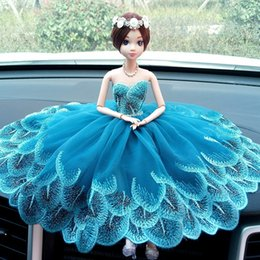Wholesale Girls Peacock Dress - Car Decoration Barbie Doll Bobby peacock lace wedding dress doll car Decoration Girls Gift Christmas gift