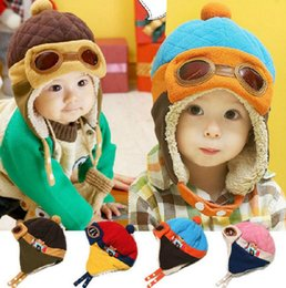 Wholesale Wholesale Kids Aviator Hats - 4 Colors Toddlers Winter Baby Earflap Toddler Girl Boy Kids Pilot Aviator Cap Warm Soft Beanie Hat Ear Flap Soft Hat KKA2514