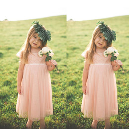 Wholesale Toddlers Wedding Shirts - Country Style 2016 Blush Pink Lace And Chiffon Toddler Flower Girls Dresses For Weddings Cheap Short Sleeve Tea Length Formal Gowns EN6148