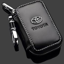 Wholesale Toyota Keys Chain - Car Key Case Toyota Logo Premium Leather Car Key Chains Holder Zipper Remote Wallet Bag for Toyota Remote Key Bag key cover accessories