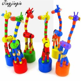 Wholesale Rock Toys - Wholesale- Fashion Kids Intelligence Toy Dancing Stand Colorful Rocking Giraffe Wooden Toy Free Shipping