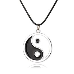 Wholesale Yin Yang Pendant Leather - eight-diagram-shaped Fashion Pendant Necklaces Leather Rope yin-yang Necklaces Statement Charm Pendant Jewelry Women men Gifts Accessories