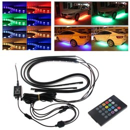 Wholesale Under Car Led Neon - RGB LED Strip Under Car Tube Underbody Underglow Glow System Neon Light Remote Car-styling free shipping