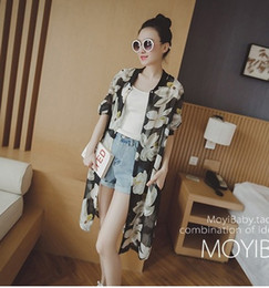 Wholesale Floral Print Chiffon Jacket - Small wholesale cheap cardigan jacket Korean printing chiffon shirt blouse collar seven sun sleeve coat lady loose cardigan jacket 5 colors