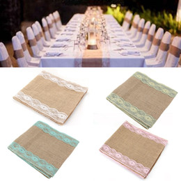 Wholesale Vintage Chinese Lantern - wedding table decoration wedding favors 30cmx280cm Vintage Rustic Burlap Hessian Lace Table Runners Wedding Decoration white Decoration