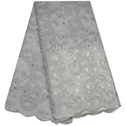 Wholesale Organza Swiss Lace - 2017 Eyelets Swiss voile in Switzerland high quality African Organza lace fabric cheap White cotton lace fabric tulle F56SS