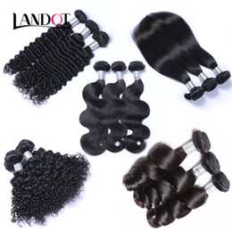 Wholesale Black Bundle - Peruvian Malaysian Indian Brazilian Virgin Human Hair Weaves 3 4 5 Bundles Body Wave Straight Loose Deep Kinky Curly Remy Hair Natural Black