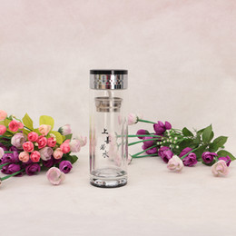 Wholesale Tea Vacuum Cup - Silvery Glass Water Bottle WithTea Infuser Strainer Double Layer Vacuum Cup Travel Car Office Filter Tea Tumbler