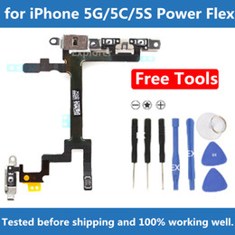 Original para iPhone 4 5 5G 5S 5C 6 más Interruptor de botón de encendido Cambiar el modo de despertador Volúmenes de mudo Botón Flex Cable + Soportes de metal Reemplazo