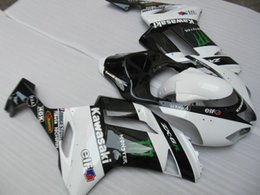 Wholesale Kawasaki 636 Fairings Set - Customized Fairing kit for KAWASAKI Ninja ZX6R 07 08 white gloss black bodykit ZX6R 636 2007 2008 ABS Fairings set