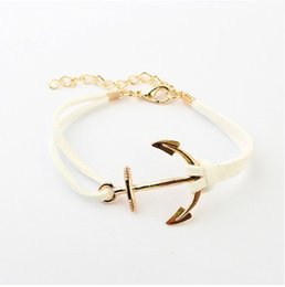 Wholesale Charm Suede Bracelet - Wholesale-B066 European and American style Hot Multi-color 18K Gold Plated Anchor South Korean Fabric Leather Suede PUNK Bracelets #1618