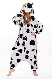 Wholesale One Piece Pyjamas - Wholesale- Pyjamas Entero Women Sleep Pajamas Sleepwear Animal Pajamas One Piece Pyjama Dairy cow Femme Home Clothing Pigiami