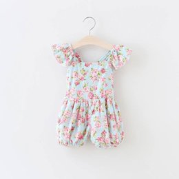 Wholesale Baby Lace Flower Leggings - 2016 Baby Girl One-Pieces Romper Kids Summer autumn Rose flower print jumpsuits Cotton Lace Leggings 4colors for choose