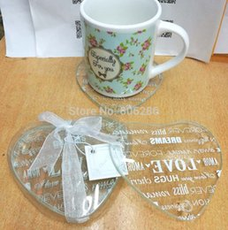Wholesale Glass Party Favor Coasters - Wholesale- 2pcs set heart Love letters Glass Coaster Cup Mat Wedding Return Gifts Birthday Party Favor