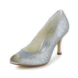 Wholesale White Sequin Prom Shoes - Glitter Upper Women Wedding Shoes evening shoes in Silver Color High Heel Bridal Shoes Party Prom Women Shoes bridal shoes Size 35-42