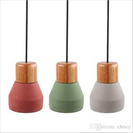 Wholesale wood lamp base - New design Nordic Minimalist Retro Wood Cement Pendant Light E27 lamp Base Industrial Loft Hanging Concrete Lamp AC85-265V