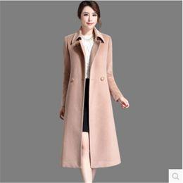 2019 pura lã de caxemira Atacado-High-grade casaco de lã mulheres Cashmere casaco Mew estilo cor pura Lace-up Soft outono inverno moda casaco de pano de lã BN1240 desconto pura lã de caxemira