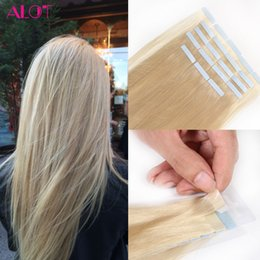 Wholesale Tape Wefts Hair Extensions - Tape In Human Hair Extensions Color #18 #22 #24 #60 #613 Brazilian Peruvian Indian Malaysian Skin Wefts Remy Hair 20pcs lot 40g lot