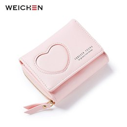Wholesale Korean Girl Wallets - Brand Korean Fresh Short Women Wallets PU Leather Female Money Purse Girls Wallet with Coin Card Cash Photo Card Holder