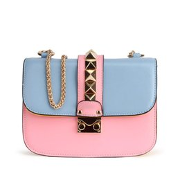 Wholesale Luxury Bag Summer - Luxury brand Famous Diamonds chain rivet Clutch Bag NEW summer selling genuine leather bag Female Shoulder Crossbody bag With box