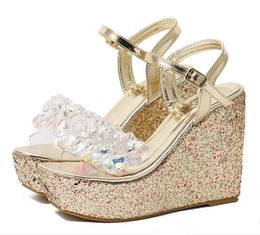 Wholesale Crystal Wedge Wedding Shoes - new Glitter Sequined White Silver Crystal Beading Platform Wedges Sandals Women Shoes 12cm