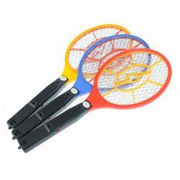 Wholesale Bug Racket - NEW fashion handheld electronic mosquito bug zapper flyswatter racket LED light indicator for camping hiking B-DW