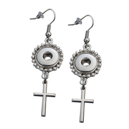 Wholesale Dangling Cross - Cross Dangle Hook Charm Earrings Fit DIY 12mm Snap Buttons With Safety Backs 5 Pairs
