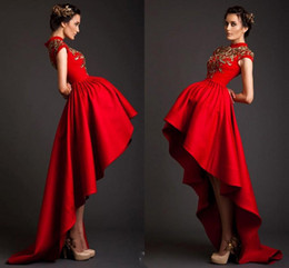 Wholesale Organza High Low Prom Dress - Krikor Jabotian Red Prom Dresses High Low 2016 Vintage Sparkling Gold Beads Sequins With Pleats High Neck Long Celebrity Evening Dresses