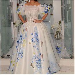 Wholesale Elegant Flower Print Dresses - 2016 Exquisite Elegant Prom Dresses with Print Flowers Lace Bateau Floor Length Juilet Sleeves Ball Gowns