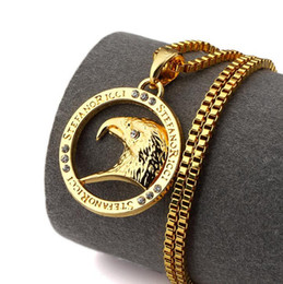 Wholesale Electroplate Necklace - 18K gold electroplating Eagle head men and women hip-hop fashion necklace jewelry